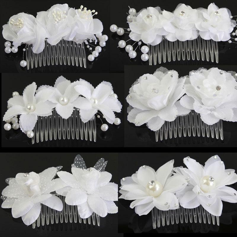 1Pc Flower Beads Pearl Hair Clips Hairband Pin Cap Headwear Hair Combs Women Fascinator Wedding Bridal Hair Accessories(China (Mainland))