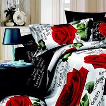 4pcs 3D Printed Bedding Set Bedclothes Red Rose in Full Bloom Queen/King Size Duvet Cover+Bed Sheet+2 Pillowcases(China (Mainland))