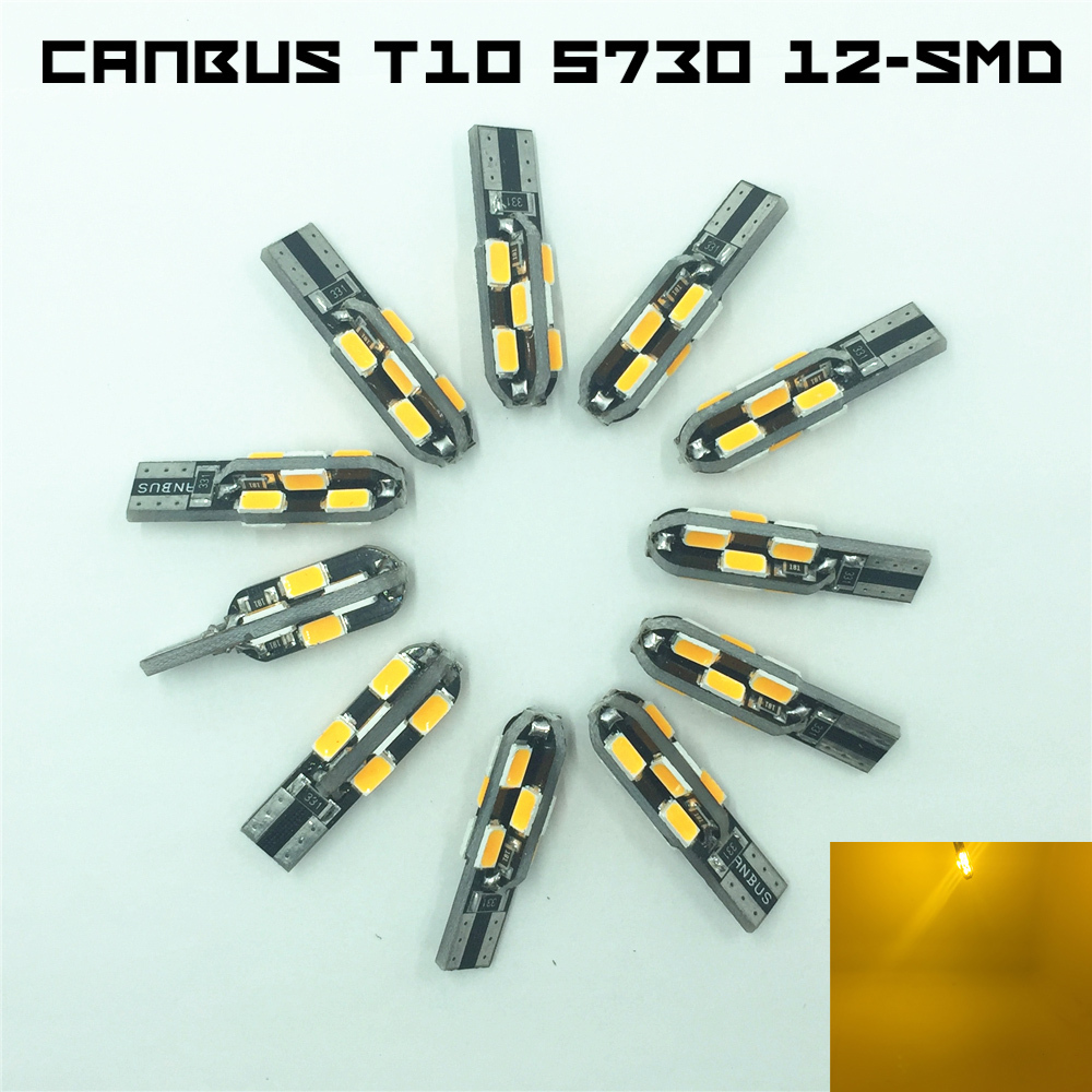 20x Canbus Error Free Warm White T10 W5W 168 5730 5630 12-SMD LED Wedge Side Mark Parking Clearance Lamp Tail Light Bulb 250LM(China (Mainland))