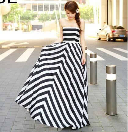 Summer Dress 2014 White Black Maxi Dresses High Waist Vintage Long Vestidos Striped Strapless Bohemian Beach - Love Girls store