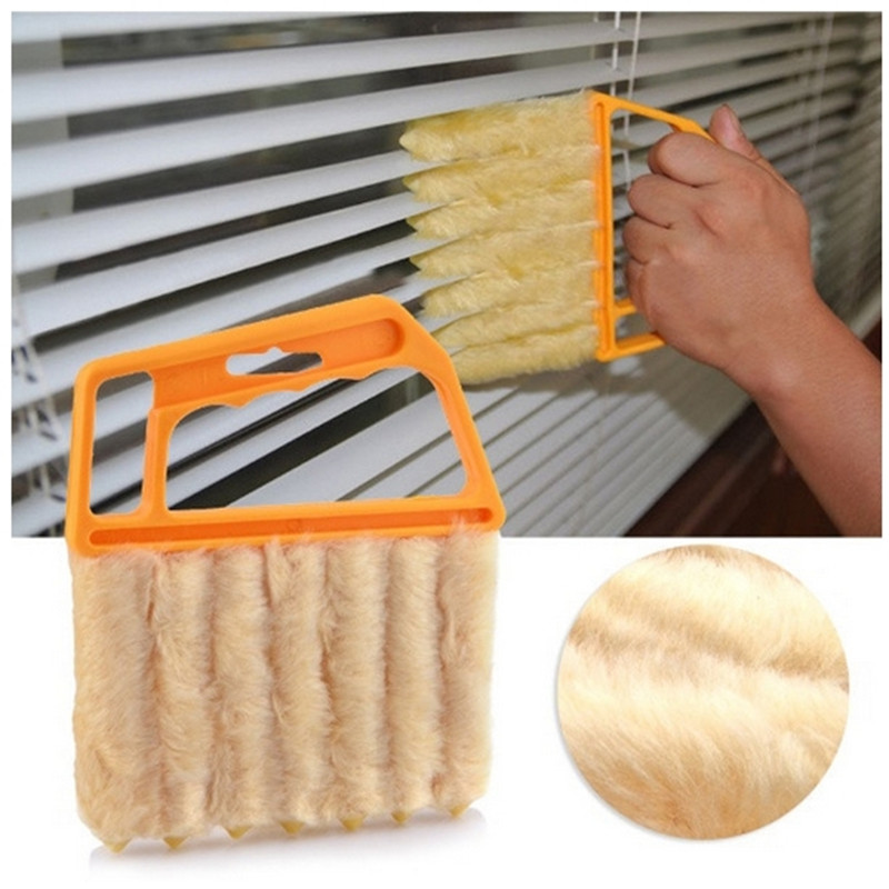 2 colours Arrival Vertical Window Blinds Brush Cleaner Mini 7 Shape Hand Held Window Brush Pinceis Novelty Households Cleaning(China (Mainland))