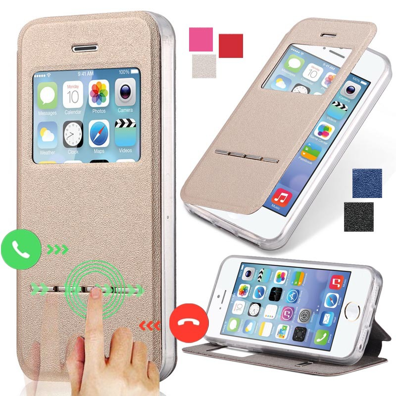 5S Clear TPU+ Matte Leather Case For Apple iPhone 5 5S Flip View Window Slide Answer Phone Bag Cover Hybrid Silicon(China (Mainland))