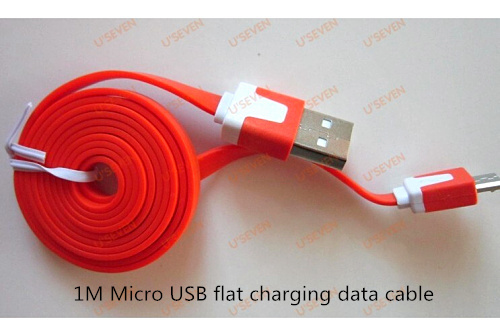 1M Colorful Noodle Flat V8 Micro USB Data Line Mobile Phone Accessory 1.6A Charger Charging Cable for Htc Nokia LG Motorola etc(China (Mainland))
