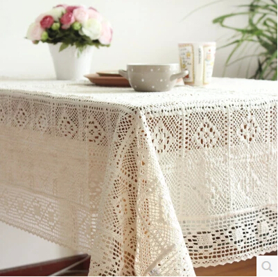 Japanese style Weaven crocheted Home hotel dining cotton Table Cloth Rectangular Tablecloth to table covers home decoration(China (Mainland))
