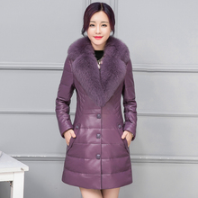 Leather down coat Female 2017 leather clothing medium-long fox fur collar thick Coat Parka Large size Top quality 8 code 8 color(China)