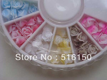 12 Colors Turntable Soft Plastic Rose Flowers 3D Nail Sticker Nail Decoration Acrylic Tips free shipping