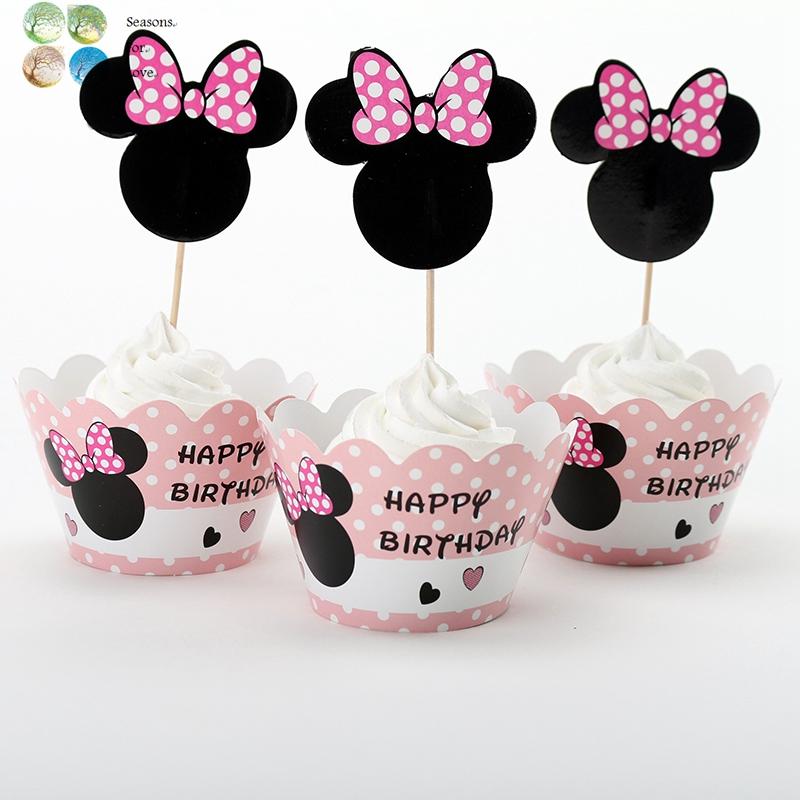 Decoracion Minnie Mouse Rosa ~ 12 unids chica del rat?n lindo minnie rosa cumplea?os envolturas de