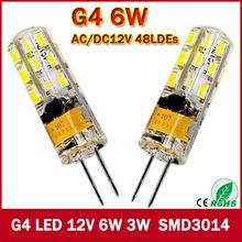2015 New 1pcs 540Lumen 3W 6W G4 LED 12V AC DC 24/48 X3014 SMD Bulb Lamp free shipping