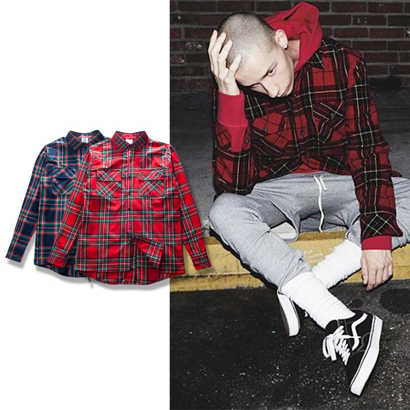 fear of god casual streetwear raw cut Scottish grid plaid back zipper long sleeve flannel shirt