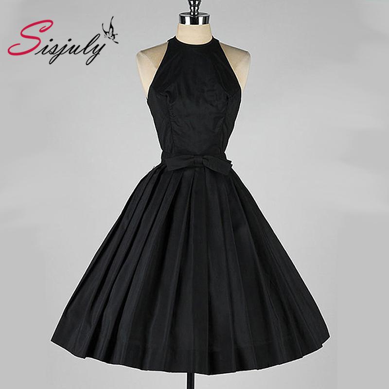 Sisjuly Vintage Women Dress Vintage 50s Retro Rockabilly Club Dress Party Dresses Sleeveless Black(China (Mainland))
