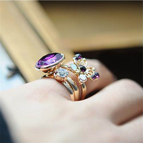 3Pcs/Lot 2016 New Fashion Hot-Selling Korean Retro Mysterious Purple Butterfly Flash Jewel Gem Three-piece Ring(China (Mainland))