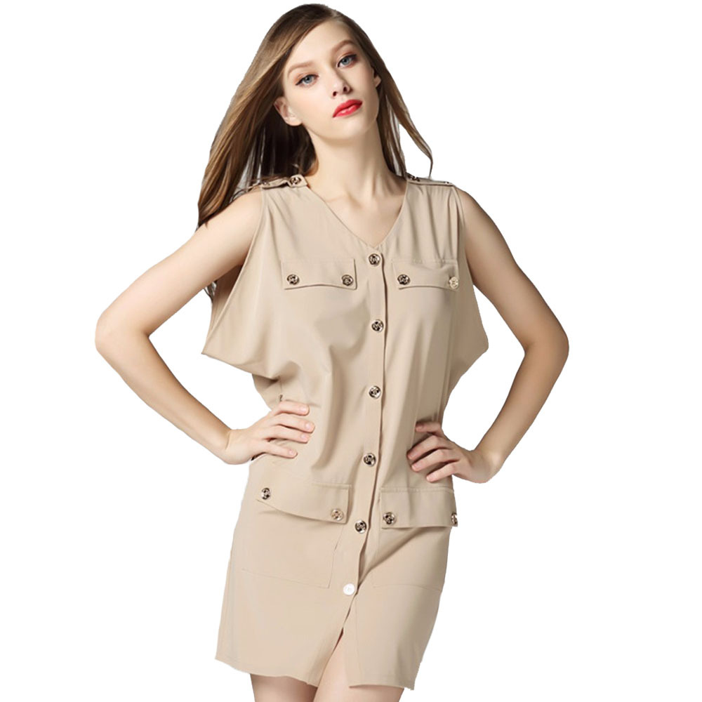 England Fashion Design Women Dress 2015 Summer Style Casual Chiffon Dresses Ladies Formal Dress Women's Khaki Clothing 7589-K(China (Mainland))