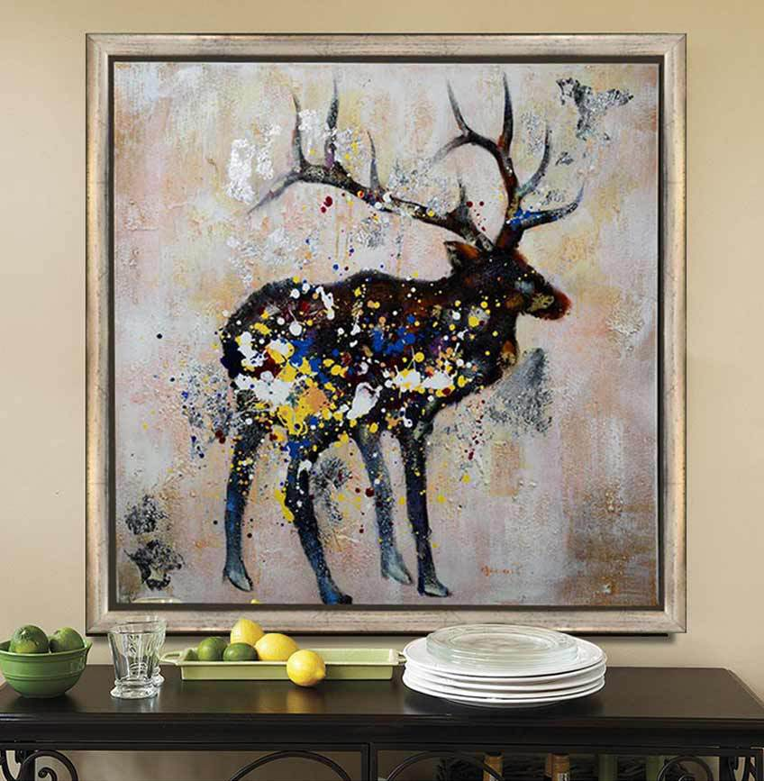 Abstract animal oil painting handpainted deer picture on canvas for home decor wall art hot sale Home decor paintings for sale india