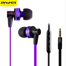 New Brand Awei 90vi Super Bass Earphone with Mic Micphone for IPhone/mp3/mp4 Noise Canceling Earbuds Headphone Metal Flat Cable