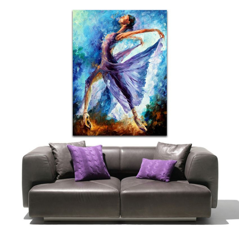 Dance Of Angels-100% Handpaintd Women Dancers Canvas Oil Paintings Ballet Girl Purple Wall Hanging for Home Hotel Decoration(Hong Kong)