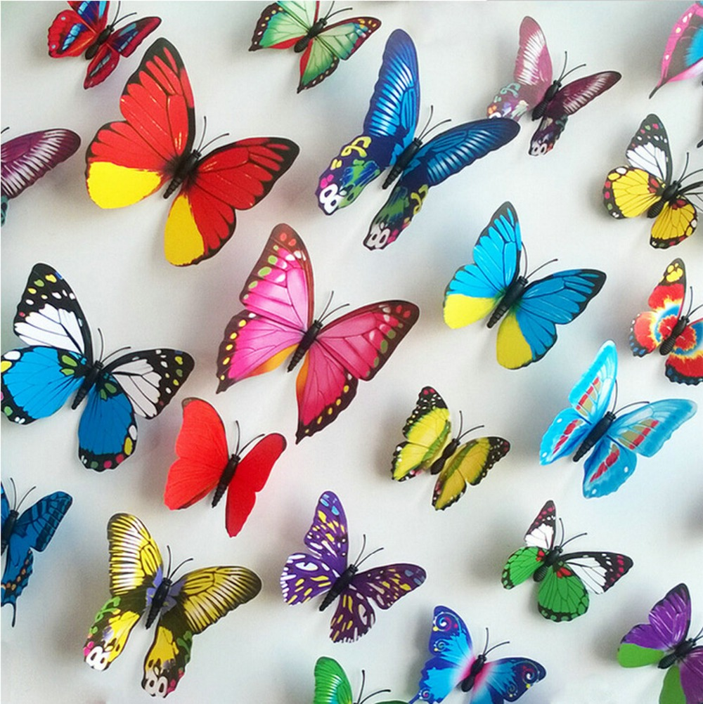 %% 18pcs/lot Butterfly sticker refrigerator magnets TV background Stickers Home decoration 3d living room adhesive wall Sticker(China (Mainland))