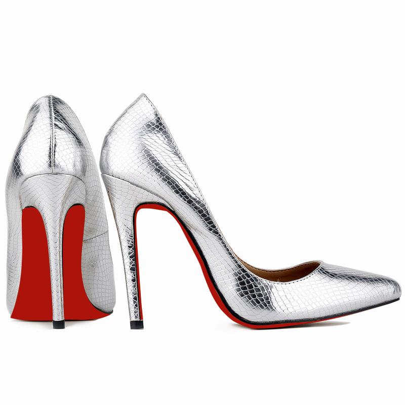 Red Bottom Fashion Small Crocodile Women Pump Sexy Cusp Shoe Heels Spring Brand Wedding Pumps Large Volume 35-42  302-1XEY-RB<br><br>Aliexpress