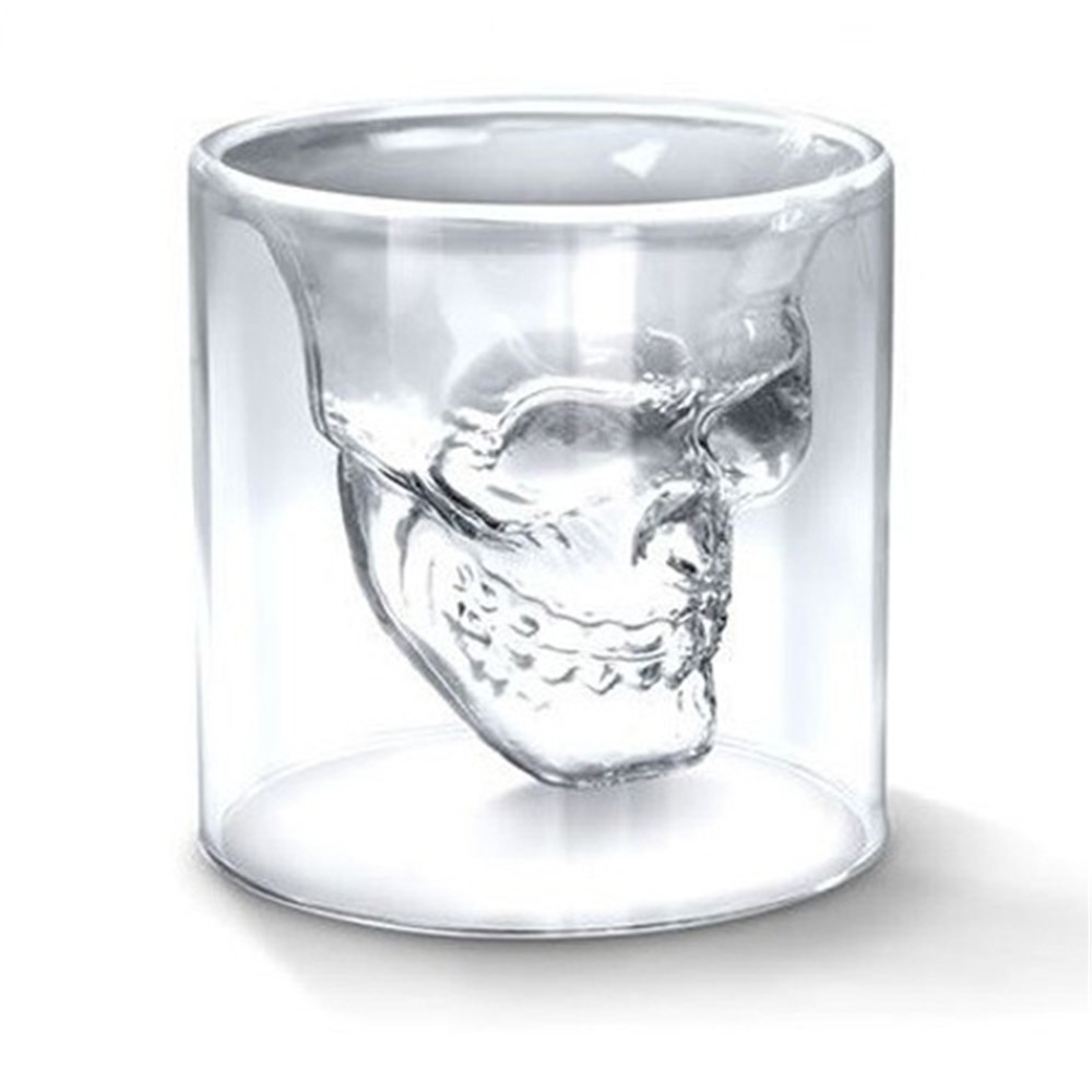 Hot Transparent Crystal Skull Head Shot Glass Cup For Whiskey Wine Vodka Bar Club Home Drinking Ware(China (Mainland))