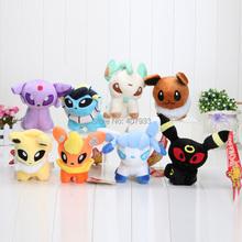 "8pcs/lot  6""  Pokemon Umbreon Eevee Espeon Jolteon Vaporeon Flareon Glaceon Leafeon Plush Toys  Soft Stuffed animals(China (Mainland))"