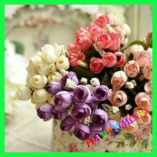 15 heads Raw silk mini Rose Buds Bouquets simulation Artificial Flowers Home Decor Photography props - Happy More Co., Ltd. store