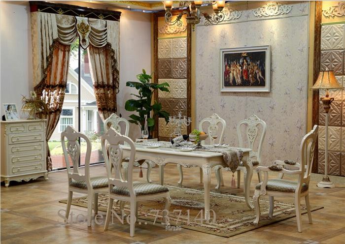 Compra blanco tallado de madera mesa de comedor online al por ...