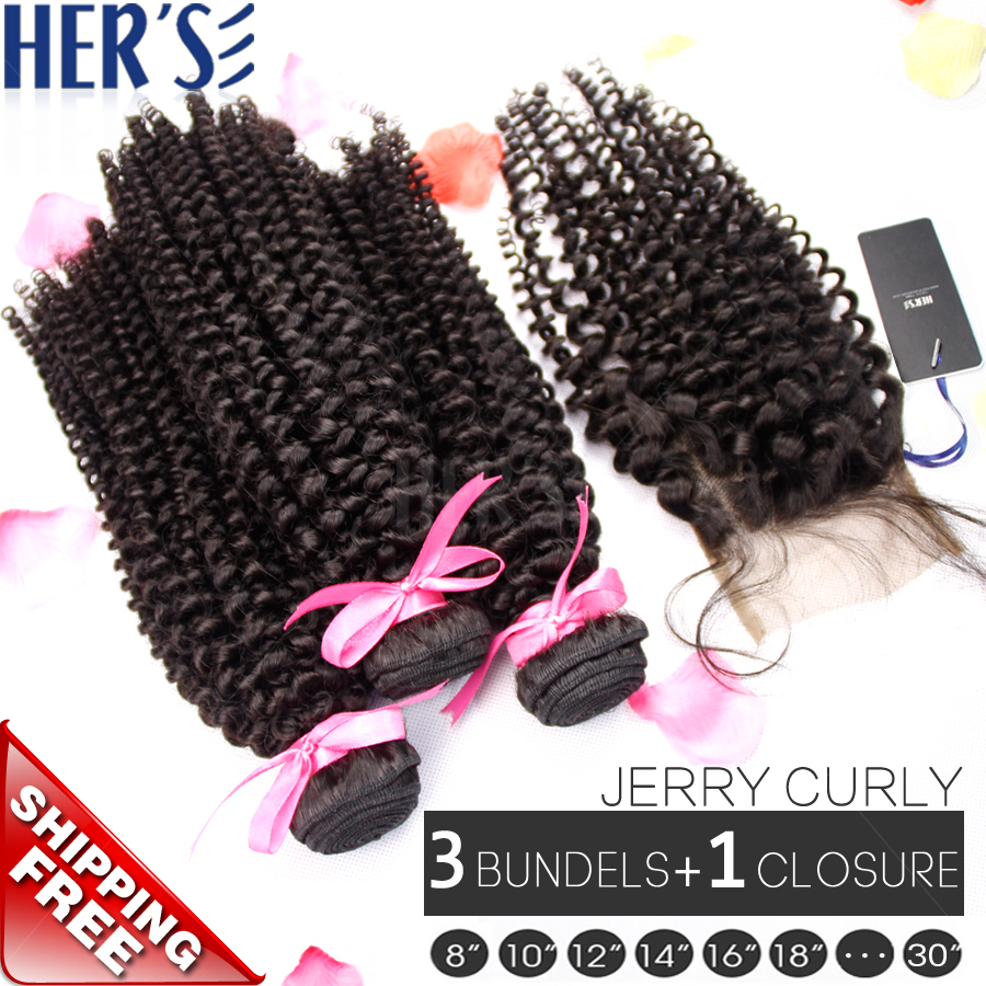 Afro Curly Hair Weave Bundles With Lace Closure, 3 PCS Indian Virgin Hair Bundles With Closure 3*3 Top Lace Closure Piece Queen