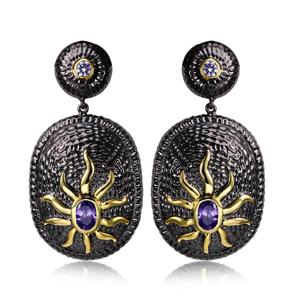 Newly Posted Today Featured Brands New trend Purple Cubic Zirconia color Black/Gold Plate Jewelry Crystal long earrings(China (Mainland))