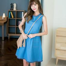 new summer women denim brushed fringed great circle swing sleeveless vest dress D1441