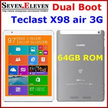 "teclast x98 air 3g dual boot 64GB /32GB Android4.4+ Win8.1/Win10 9.7 "" Retina Z3736F Quad Core WCDMA phone call GPS tablet pc(China (Mainland))"