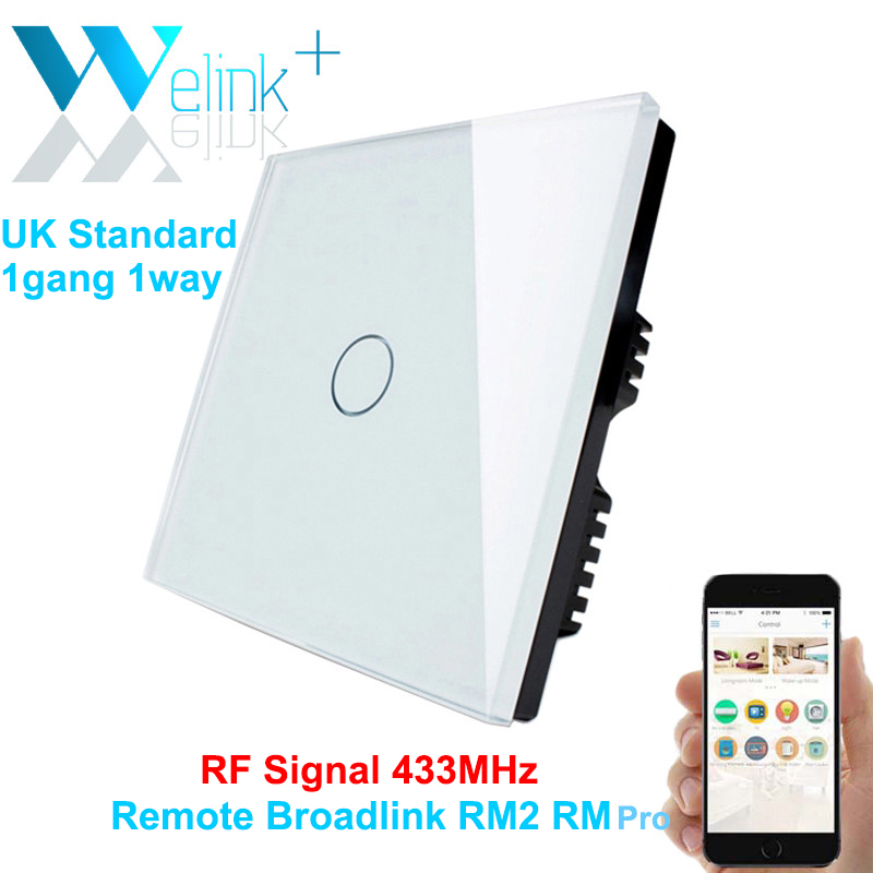 1Gang ,Smart Remote wall Switch UK Standard Tempered Toughened Crystal Glass Panel RF433 Wireless Control work by Broadlink<br><br>Aliexpress