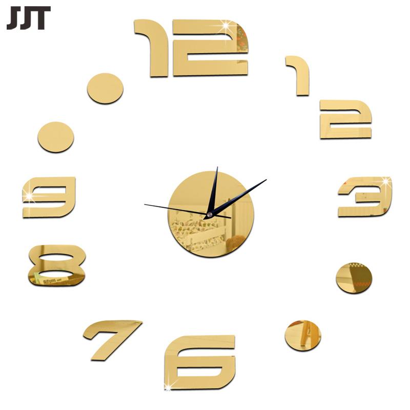 DIY Mirror Designer Wall Clock Silent Acrylic Digital Wall Sticker Decoracion Hogar 2016 Free Shipping JT6019(China (Mainland))