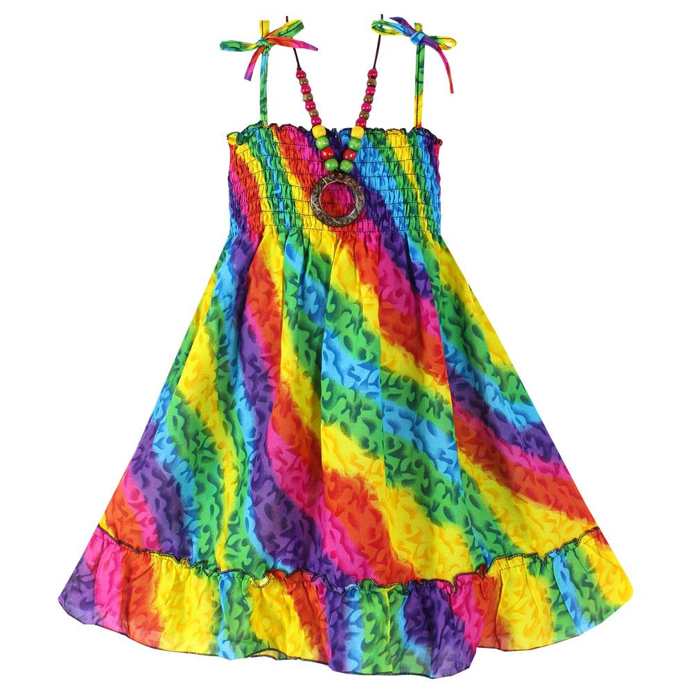 New Girls Dress + Necklace Rainbow Smocked Party Bohemia Beach Kids Clothing Size 2-5(China (Mainland))