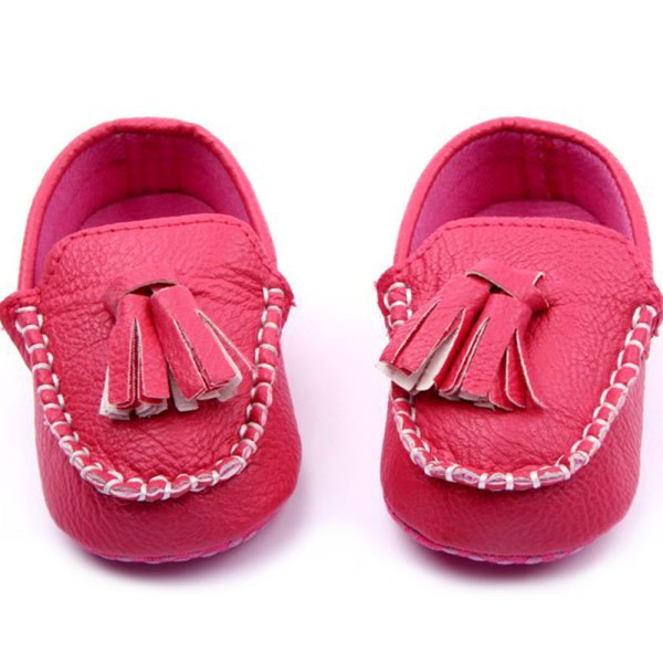 Best Selling 0-12Months Kids Girls Boys Leather Crib Shoes Casual Soft Sole Peas Slip-On Tassel Shoes 3 Colors 2015 Brand NEW(China (Mainland))