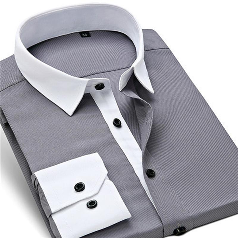 2015 Men Shirt Twill Patchwork