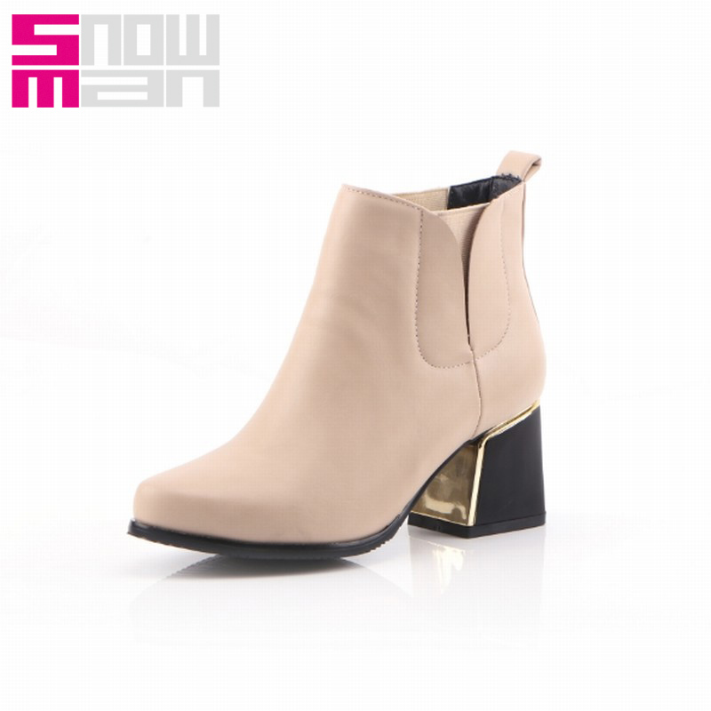 Size 32-44 Elastic Band Slip on Ankle Boots Hoof Med Heels Vintage Spring Autumn Shoes Woman Warm Winter Boots 2015