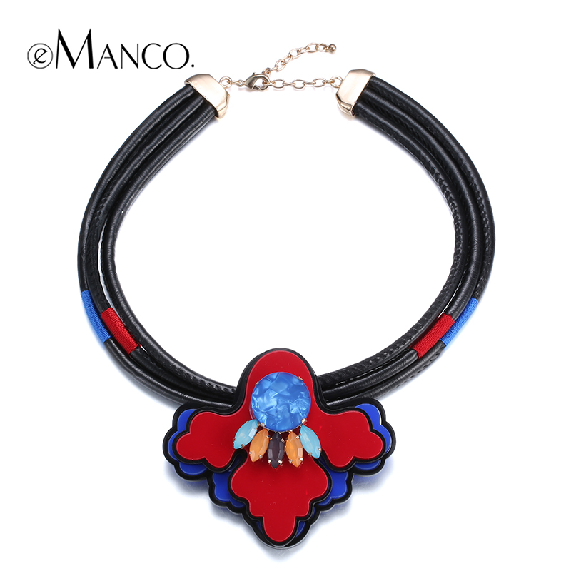 //Red flower acrylic pendant leather cord necklace// trendy choker necklace 2015 new necklace fashion jewelry eManco NL13348(China (Mainland))
