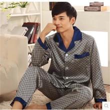 Luxury Men Pajamas Spring And Autumn Men Silk Satin Pyjamas Middle-aged Father Sleepwear Lounge Pajama Sets Plus Size 3XL(China (Mainland))