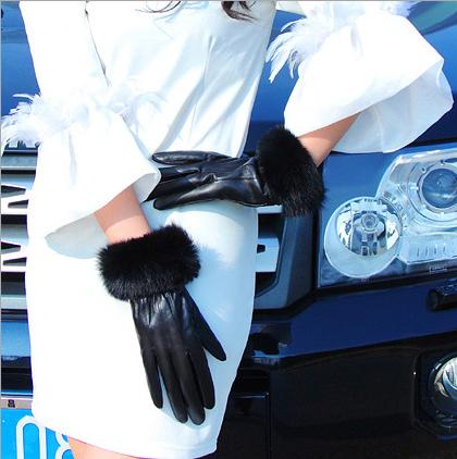 winter dress gloves women 100% leather rabbit hair ,LSM396 - Longstar Mall store