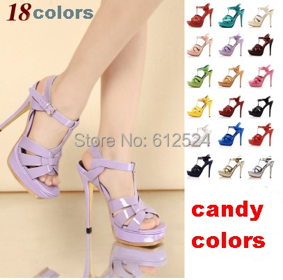 2014 Newly Colorful Girl Dress Sandals 130mm Platfrom Buckle high heel Wediding Shoes summer peep toe patent leather heels(China (Mainland))