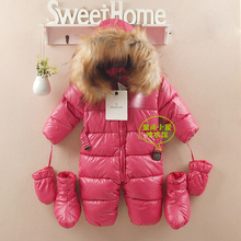 Baby Girl Snow Wear Newborn winter PU snowsuit rompers boys & girls clothing infant clothes outwear combinaison bebes jumpsuit (China (Mainland))