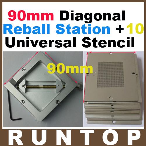 Freeshipping  10pcs 90mm Universal  Bga Reballing Stencil  Reball Tample Kit +  Diagonal Reball Station Ht-90(China (Mainland))
