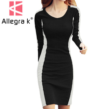 3007 Lady Pullover Round Neck Color Block Slim Fit Sheath Dress Women