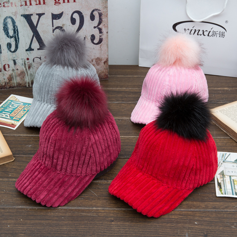 new woman's hats baseball hats autumn winter corduroy material with Hairball baseball caps fashion snapback hat causal(China (Mainland))