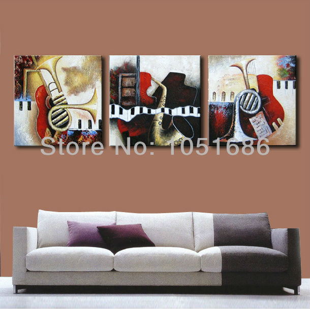 Oil Painting Sets Musical Instruments Artwork Canvas Wall Decorations