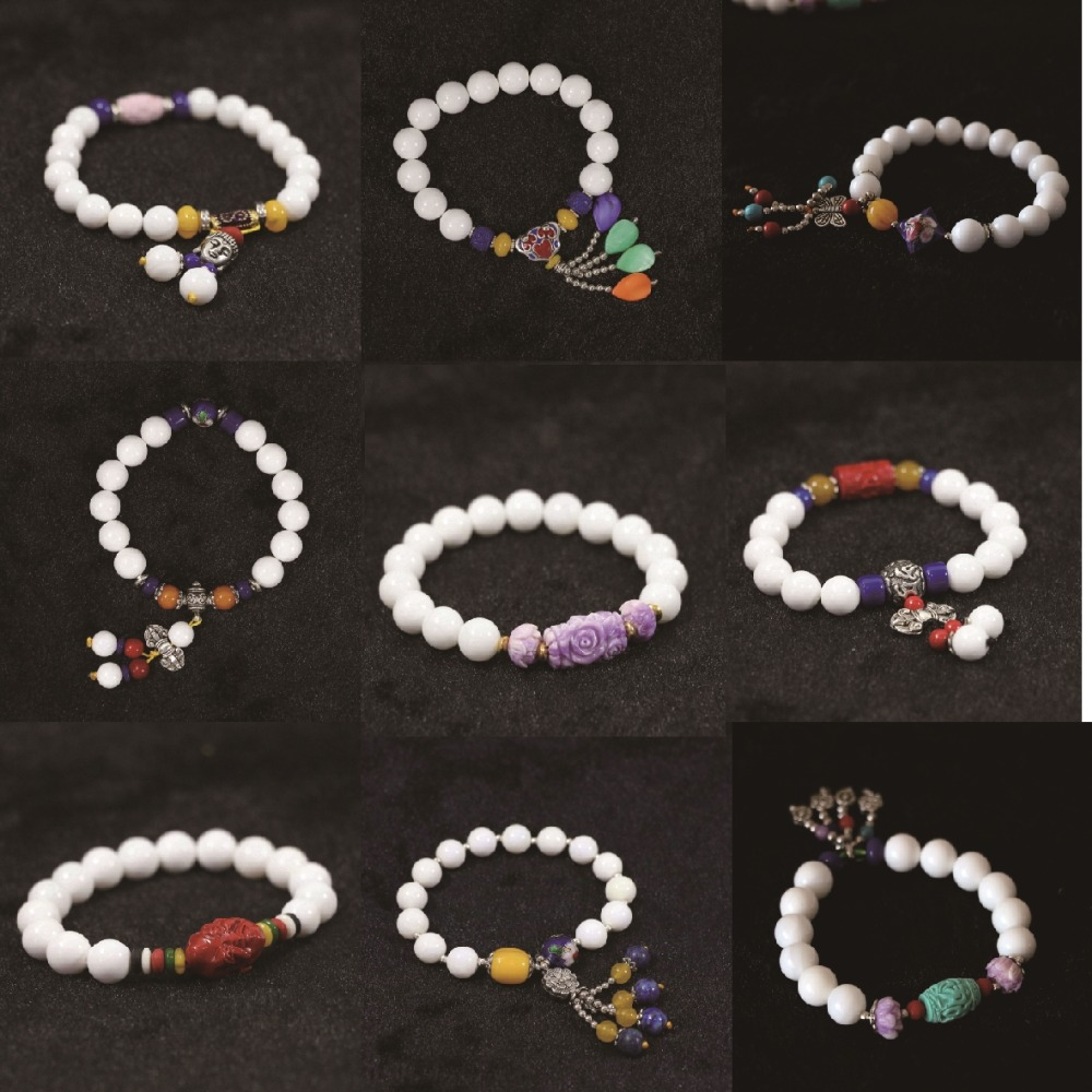 """White shell 10mm 8mm round beads with color pendants free shipping fashion women bracelet 7.5"""" B972(China (Mainland))"""