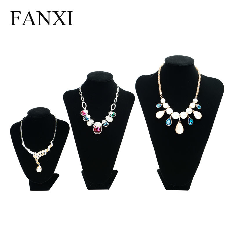 FANXI Free Shipping Black Long Plush Necklace Display Stand Bust Custom Necklace/Pendant Jewelry Display Showcase Exhibitor(China (Mainland))