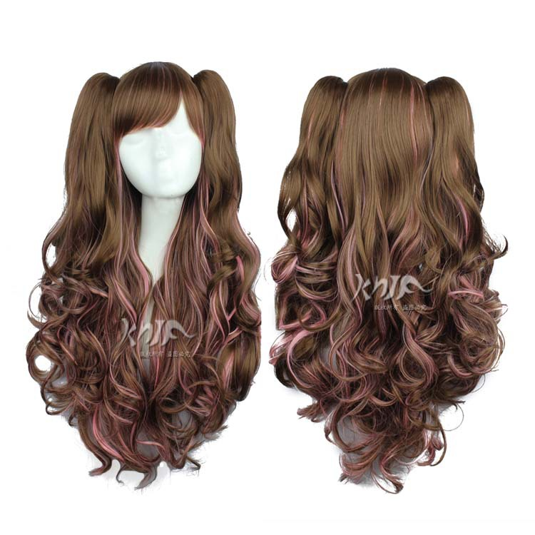 New arrival and high quality brown graded long curly cosplay Lolita wig + two ponytail free shipping<br><br>Aliexpress