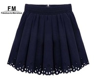 Hot New Ladies Pleated Tennis Skirt Women 2014 High Waist Skater Skirts Short Chiffon Fashion Navy White Women Hole Hollow out