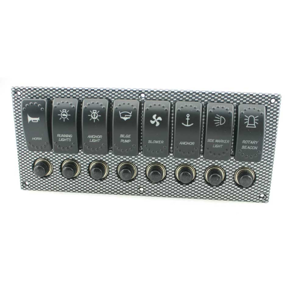 8 Gang Laser Etched 2 LED Rocker Circuit Breaker Waterproof Marine Boat Rv Switch Printing Panel(China (Mainland))