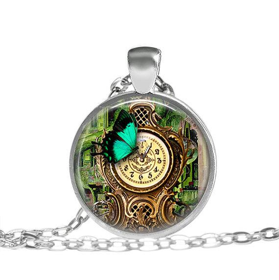 (3 pieces/lot) Steampunk Garden Clock Pendant Necklace Butterfly Necklace Garden Retro Vintage Steam Punk Necklace Accessories(China (Mainland))